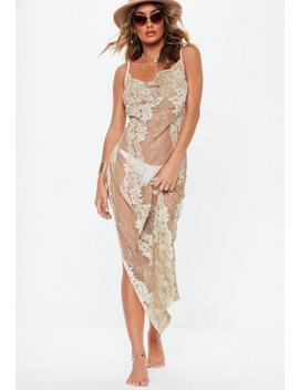 Premium Nude Lace Cowl Neck Maxi Dress by Missguided