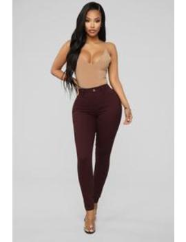 Jazzy I Skinny Pants   Burgundy by Fashion Nova