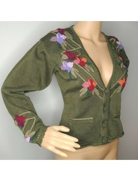 Vintage Peruvian Connection Cardigan Small Medium Floral Appliques Pima Cotton by Peruvian Connection
