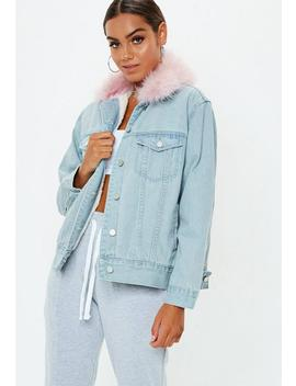 Blue Fur Lined Ostrich Collar Denim Jacket by Missguided