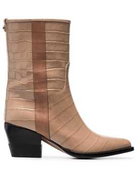 Brown 60 Snakeskin Effect Boots by Chloé