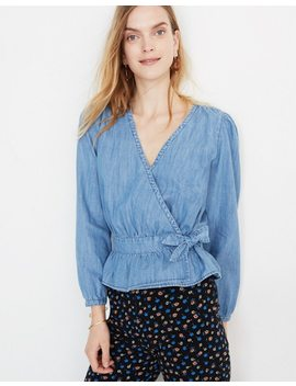 Denim Puff Sleeve Peplum Wrap Top by Madewell