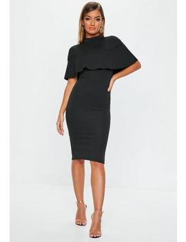 Black Frill Overlay Midi Dress by Missguided
