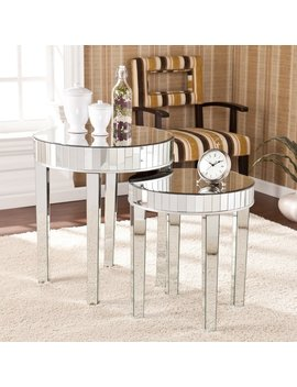 Silver Orchid Olivia Round Mirrored Nesting Accent Table 2pc Set by Silver Orchid