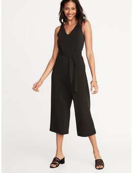 Textured Ponte Knit Tie Belt Jumpsuit For Women by Old Navy