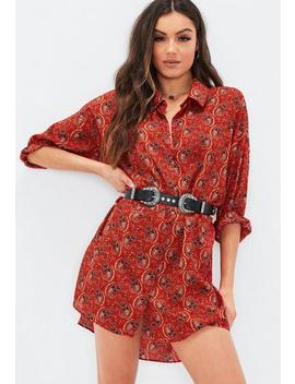 Red Oversized Drop Back Shirt Dress by Missguided