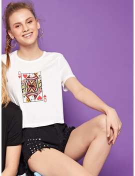 1 Plus1 Girls Poker Card Print Crop Tee by Romwe
