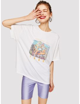 Drop Shoulder Painting Print Top by Romwe