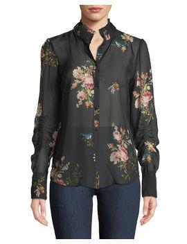 Elzie Long Sleeve Floral Silk Top by Joie