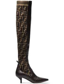 Brown 45 Logo Stretch Knee High Boots by Fendi