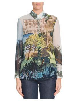 Button Front Landscape Print Silk Blouse by Altuzarra