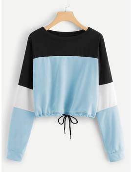 Colorblock Drawstring Sweatshirt by Sheinside