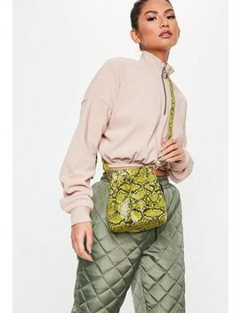 Neon Lime Faux Snake Bucket Bag by Missguided