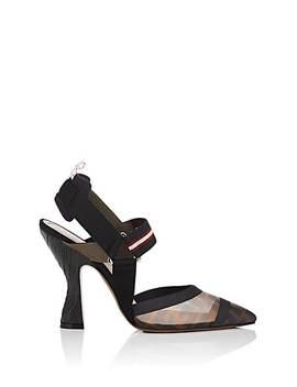 Sculpted Heel Slingback Pumps by Fendi