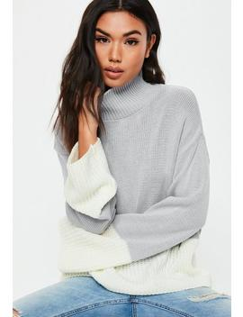 Gray Colorblock High Neck Knitted Sweater by Missguided