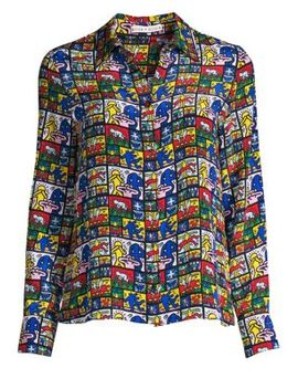 Keith Haring X Alice + Olivia Willa Graphic Silk Button Down Top by Alice + Olivia