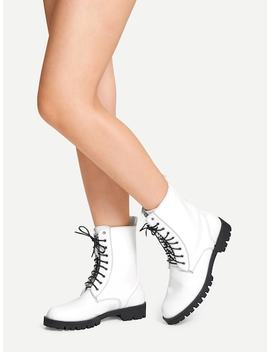 Plain Studded Detail Lace Up Boots by Sheinside
