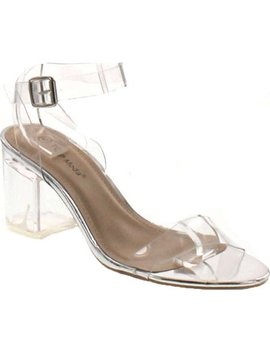 Top Moda Womens Ivan 1 Lucite Clear Strappy Block Chunky High Heel Open Peep Toe Sandal by Top Moda