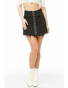 Kikiriki Hook And Eye Denim Mini Skirt by Forever 21