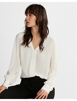 Petite Button Front Blouson Sleeve Chelsea Popover by Express