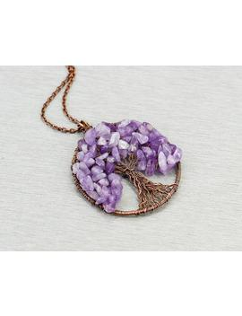 Tree Of Life Pendant Amethyst Jewelry Reiki Healing Crystal Necklace Mother In Law Gift For Anniversary Gift For Wife Gift For Teacher Gift by Etsy