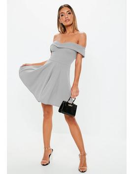 Gray Wrap Bardot Skater Dress by Missguided