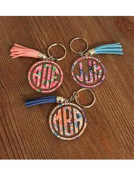 Sale! Lilly Pulitzer Keychain/Monogram Keychain/Monogram Keychains/Bridesmaid Gift/Gift For Her/Monogram Key Chain/Monogram Key Chain by Etsy