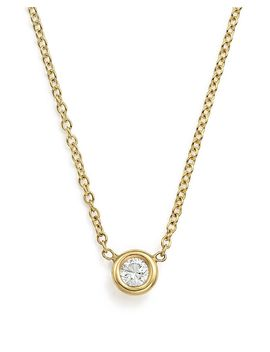 "14 K Yellow Gold Choker With Diamond Pendant, 14"" by Zoë Chicco"
