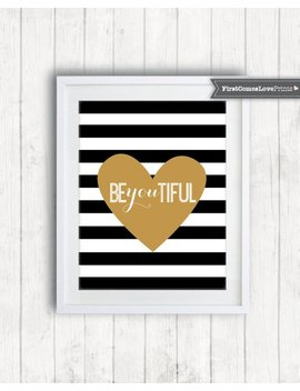 Teen Bedroom Art • Be You Tiful • Black And White Stripes • Custom Colors Print Or Canvas Inspirational Decor Graduation Gift Quote Art Teen by Etsy