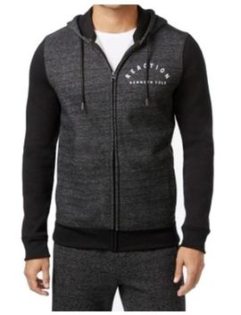 Kenneth Cole Reaction Men's Charcoal Heathered Colorblock Hoodie   Size Large by Kenneth Cole Reaction