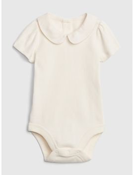 Ribbed Peter Pan Collar Bodysuit by Gap