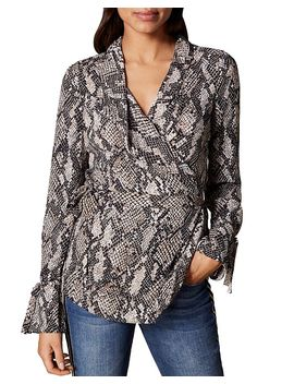 Snake Print Wrap Top by Karen Millen