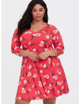 Red Floral Studio Knit Skater Dress by Torrid