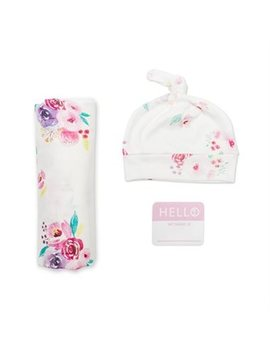 Lulujo Hello World Blanket And Knotted Hat Set Poises Newborn by Lulujo