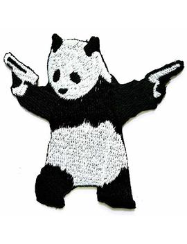 Nipitshop Patches Cute Animal Japanese Panda With Guns Fun Retro Cartoon Game Logo Girl Kid Baby Jacket T Shirt Patch Sew Iron On Embroidered Symbol Badge Cloth Sign Costume by Ni Pit Shop Panda Bear Patch