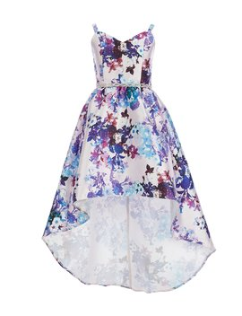 Big Girls 7 16 Floral High Low Mikado Dress by Rare Editions