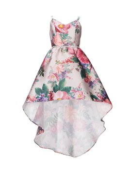 Big Girls 7 16 Floral Mikado Hi Low Dress by Rare Editions