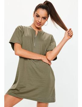 Khaki Oversized T Shirt Dress by Missguided