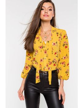 Floral Tie Neck Blouse by A'gaci