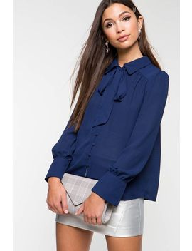 Collared Spring Tie Neck Blouse by A'gaci