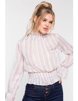 Shadow Stripe Mock Neck Blouse by A'gaci