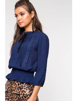 Cinched Waist Tie Neck Blouse by A'gaci
