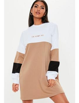 Tan Oversized Oh Honey Sweater Dress by Missguided