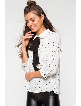 Lisa Dot Tie Neck Blouse by A'gaci