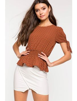 Cinched Waist Dot Peplum Top by A'gaci
