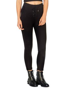 Middle Of The Road Lace Up Pants by Amuse Society