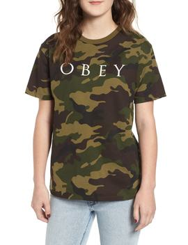 Novel Logo Camo Cotton Tee by Obey