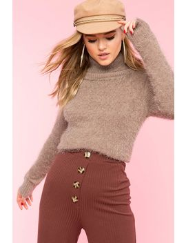 Fuzzy Knit Turtleneck Sweater by A'gaci