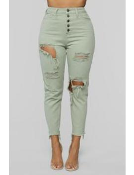 Too Anxious Distressed Jeans   Green by Fashion Nova