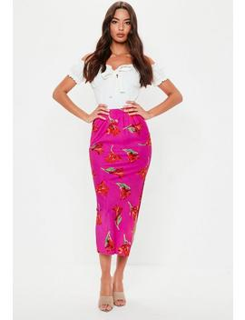 Pink Floral Print Slip Skirt by Missguided